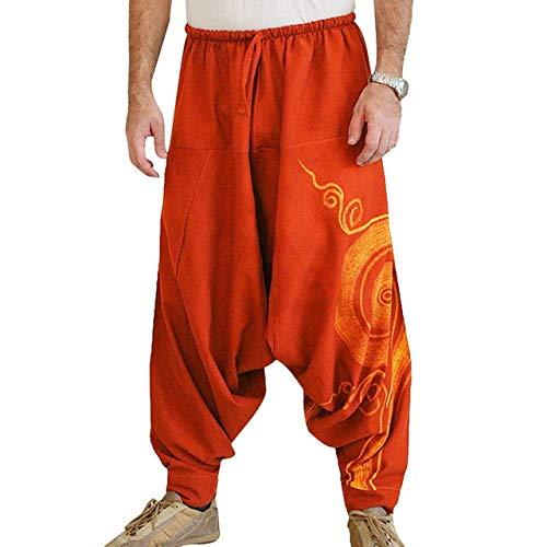 Loeay Moda Uomo Pantaloni Haren Pantaloni Cavallo Hip Hop Pantaloni Sportivi Uomo Pantaloni Casual Allentati medievali Stampa Costume Pantaloni Maschili Rosso XXXL