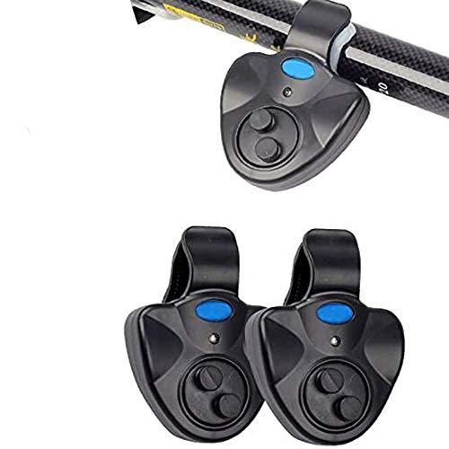 HIMM 2 unids sensible pesca despertador electrónico luz LED pescado mordedura sonido campana clip en la caña de pescar herramienta