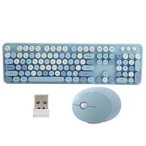 Teclado inalámbrico, Teclado de diseño único, Teclado mecánico, diseño Retro, 104 Teclas, Juego de Teclado y Mouse, Lindo Teclado, para Oficina/hogar, para computadora(Azul)