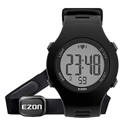 Digital Watch Heart Rate Monitor with Strap Alarm Chronograph for Men and Women Red EZON T037A11