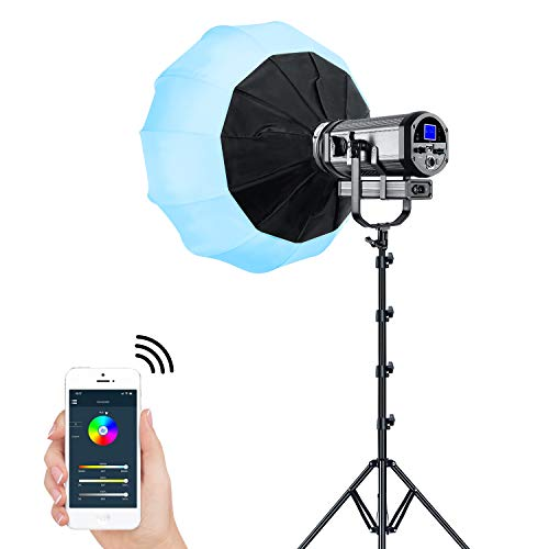 Full Color LED Video Light, GVM 150W RGB Photography Lighting Kit with Lantern Softbox, APP Control System, Professional Studio Continuous Output Lighting 3200K-5600K/8 Kinds of The Scene Lights/CRI97