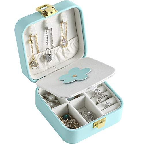 MUY Joyero Cuadrado Caja de Almacenamiento de Joyas de Cuero para Collar Pendientes Pulsera Gafas