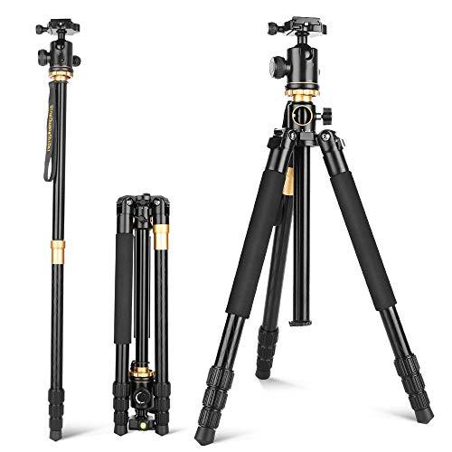 Q999H Aluminium Statief Monopod, met Horizontale Kolom 360 graden Damping Ball Head Draagtas, voor Canon Sony Nikon Video Camcorder