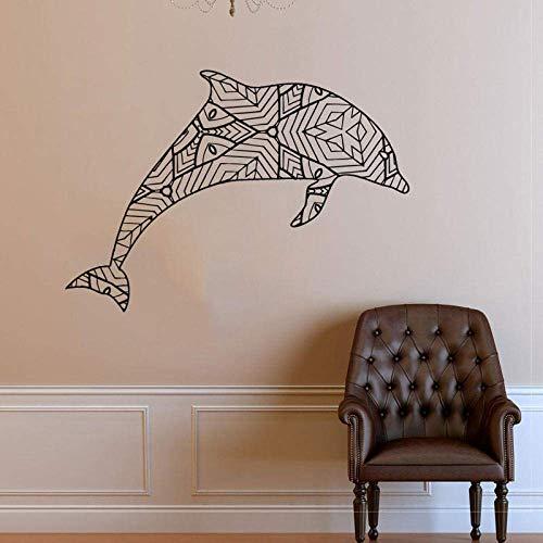 Calcomanía De Vinilo Con Delfines Geométricos Papel De Etiqueta De Vinilo De Pared De Animales Marinos Geométricos Origami Decoración De Pared Murales De Bricolaje 64X42Cm