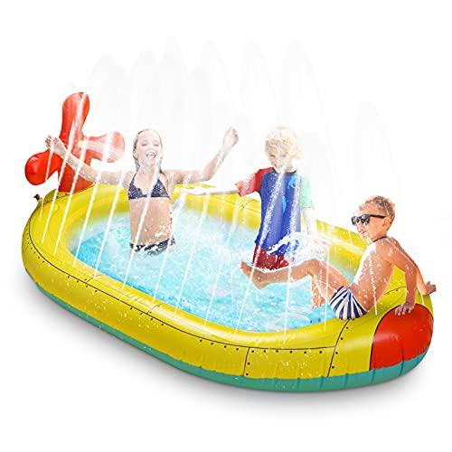 Submarine Sprinkler Pad for Kids ,Aleaf Baby Toddler Wading Pool, Splash Play Mat Backyard Party Outdoor Summer Toys for Boys Girls