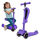 KicksyWheels Scooters for Kids - 3 Wheel Toddler Scooter for Boys & Girls - Toddlers and Kids Toys for 1 Year Old and Up - Three Heights & Light Up Wheels (Purple, with Seat)