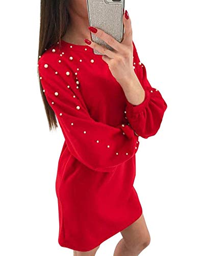 Minetom Femme Sexy Col Rond Manches Longues Mini Robe Sweat Casual Perlage Sweat-Shirt Pullover Automne Hiver Longue Chemise Tunique Jumper Rouge FR 36