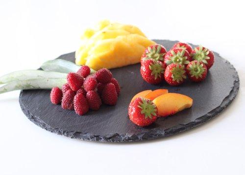 2stk runde Natur Schieferplatte Ø30CM Servierplatte Tischset Schieferplatten Obstplatte versiegln mit Lebensmitte in Deutschland | Gummifüße als Möbelschutz | Personalisierbar Gravur (aufpreis)