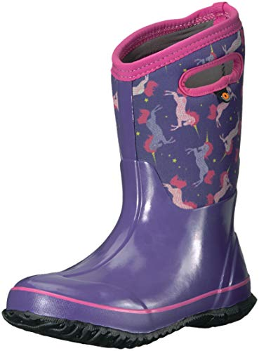 BOGS Kids' Classic High Waterproof Insulated Rubber Neoprene Snow Rain Boot, Unicorns Print-Purple, 8 M US Toddler