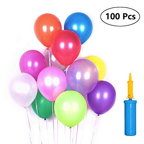 Lifreer 100PCS Latexballons, 12 Zoll mehrfarbige Ballons Biologisch abbaubare Ballons mit Pumpe für Geburtstag, Hochzeit, Feiern, Partydekoration