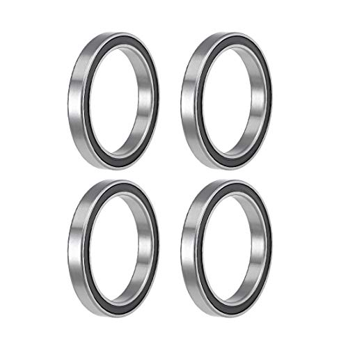 uxcell 6808-2RS Deep Groove Ball Bearings 40mm Inner Dia 52mm OD 7mm Bore Double Sealed Chrome Steel Z2 4pcs
