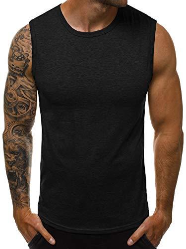 OZONEE Herren Tank Top Tanktop Tankshirt Ärmellos Bodybuilding Shirt Unterhemd T-Shirt Tshirt Tee Muskelshirt Achselshirt Trägershirt Ärmellose Training Sport Fitness 777/3451BO SCHWARZ L