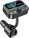Bovon Transmisor Bluetooth Coche con Micrófono Dual, Transmisor FM...