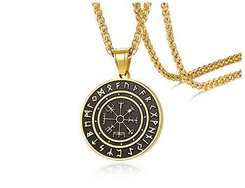 VNOX Chapado en Oro y Negro Acero Inoxidable Vintage Símbolo de Odin de Vikingos Nórdicos Runa Runica Amuleto Colgante Collar Vikingo Joyas de Regalo para Hombres Niños