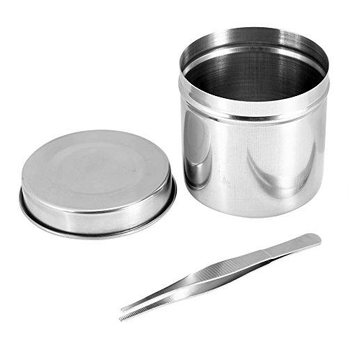 Sterilisatiecontainer, 3 maten RVS desinfectieglas, alcoholcontainer met pincet (9cm)