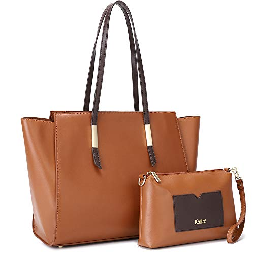 Kattee Genuine Leather Tote Purses and Handbags for Women, Shoulder Bags Crossbody Hobo 2pcs Purse Set Brown