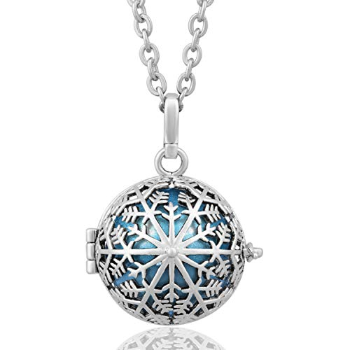 EUDORA Harmony Bola Sterling Silver Snow Flower Baby Tone Musical Chime Ball Pendant Pregnancy Necklace
