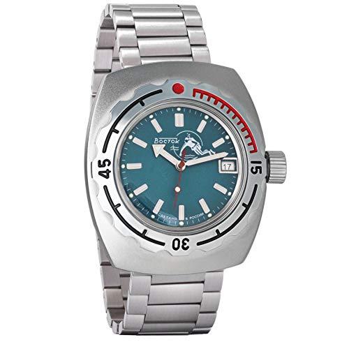 Vostok Amphibian - Reloj de pulsera automático para hombre, diseño de amfibia, con cierre de mariposa