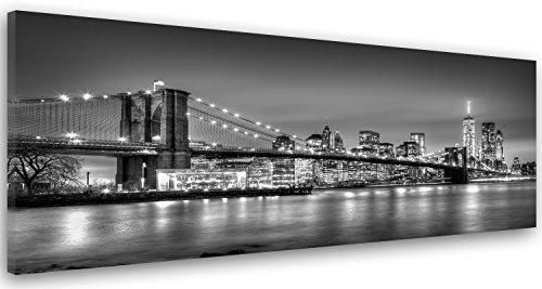 Feeby Frames, Cuadro en lienzo, Cuadro impresión, Cuadro decoración, Canvas de una pieza, 60x150 cm, BLANCO, RASCACIELOS, EDIFICIOS, ARQUITECTURA, AGUA, NEGRO Y EL PUENTE DE BROOKLYN, NUEVA YORK
