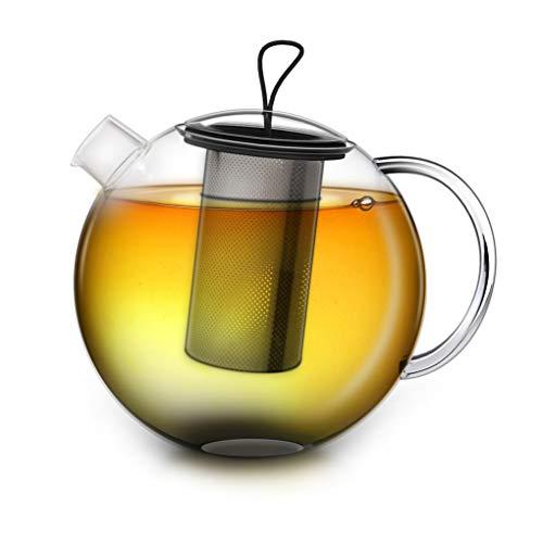 Creano Teekanne 1,5l Jumbo, 3-teilige Glasteekanne im Teekannenset mit integriertem Edelstahl-Sieb & Glas-Deckel, multifunktionale Design-Glas-Teekanne