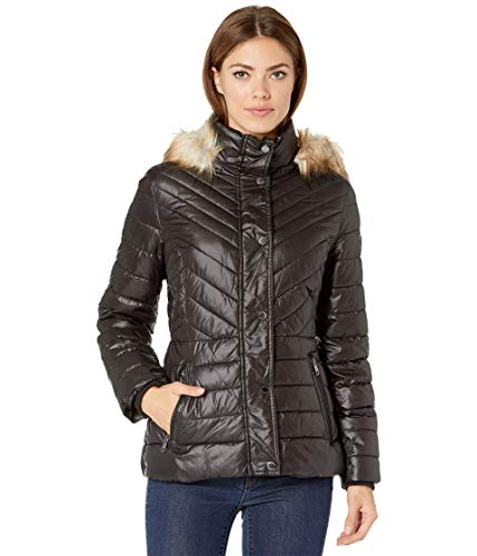 Kenneth Cole Faux Fur Trimmed Short Puffer Black 2 XL