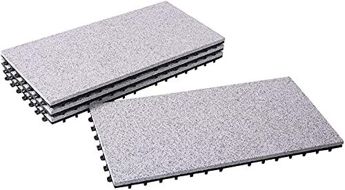 BodenMax® LLGRA001-GRY-3060 granit-klassisk 30x60cm klick golvplattor terrassplattor terrassplatta stenplattor klickplattor balkongplattor inomhusyta utomhusyta grå (4 st.)
