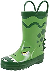 7. Rainbow Daze Printed Dinosaur Toddler Rain Boots with Handles