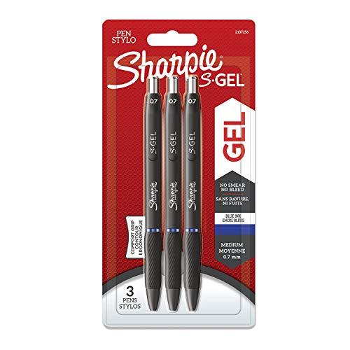 Sharpie S-Gel Gelstifte | mittlere Spitze (0,7 mm) | Gelschreiber mit blauer Tinte | 3 Stück