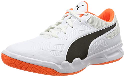 Puma Unisex-Kinder Tenaz Jr Futsalschuhe, White Black-Shocking Orange, 34 EU