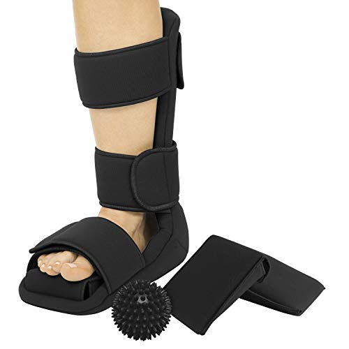 Vive Plantar Fasciitis Night Splint Plus Trigger Point Spike Ball - Soft Leg Brace Support, Orthopedic Sleeping Immobilizer Stretch Boot - Heel Spur, Foot Pain, Achilles Inflammation, Soreness Relief