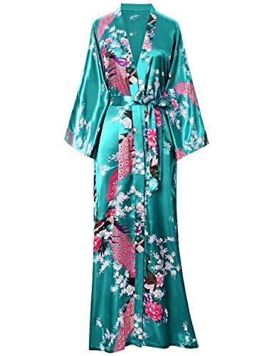 BABEYOND Damen Morgenmantel Maxi Lang Seide Satin Kimono Kleid Pfau Muster Kimono Bademantel Damen Lange Robe Schlafmantel Girl Pajama Party 135cm Lang (Dunkelgrün)