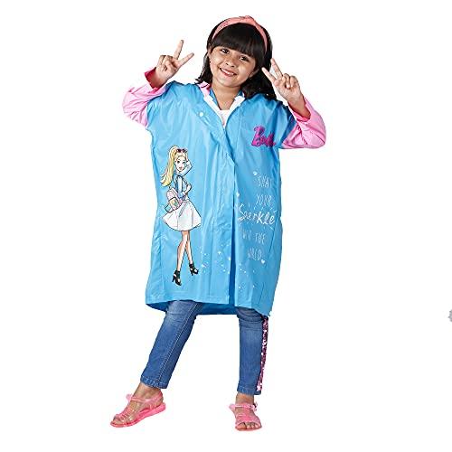 ZEEL Kids Raincoat with Hood |Barbie Doll Printed Rainsuit with Backpack Design | Ponchos| RainCoat for Girls | Blue-Pink | 36 | 8-9Yrs