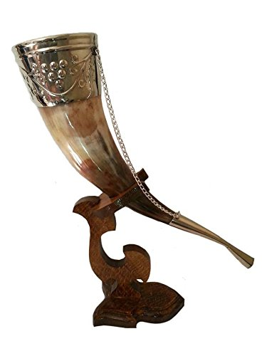 Wikinger-Trinkhorn, 142 - 200 g, mittelalterlich, natürlich, handgefertigt, Horn mit Holzständer