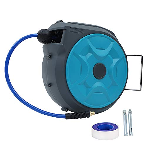 Daertuo Air Hose Reel 5/16Inch 50ft Automatic Retractable Enclosed Air Compressor Hose 180° Rotating Wall Mount, Heavy Duty