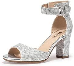 IDIFU Women's Candie-MI Peep Toe Low Block Heels Sandals Ankle Strap Comfy Chunky Wedding Dress Shoes (Silver Glitter, 6 M US)