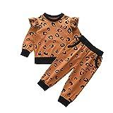 Conjunto de ropa para bebé de 0 a 6 meses, camiseta de manga larga + pantalón estampado de leopardo para recién nacidos, sudaderas para otoño e invierno marrón 3-4 Años