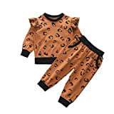 Conjunto de ropa para bebé de 0 a 6 meses, camiseta de manga larga + pantalón estampado de leopardo para recién nacidos, sudaderas para otoño e invierno marrón 18-24 Meses