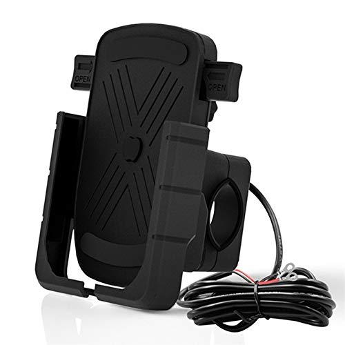 Motocicleta Teléfono móvil Soporte de Carga Aluminio Aleación One-Button Teléfono Telescópico Teléfono Móvil aplicable a Todos los Modelos (Color : Black)