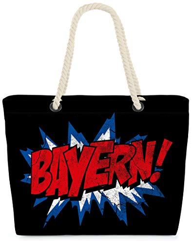 VOID XXL Strandtasche Bayern Shopper Tasche 58x38x16cm 23L Beach Bag Bavaria Oktoberfest, Kissen Farbe:Schwarz