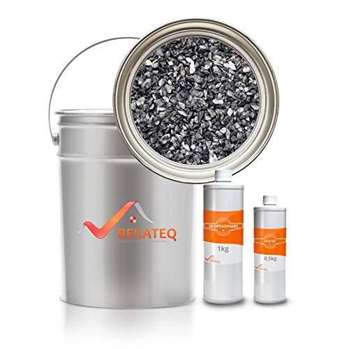 Steinteppich Set Dunkelgrau Bindemittel Epoxidharz - Grigio Carnico 25kg plus Epoxid Bindemittel, bis 2,5qm