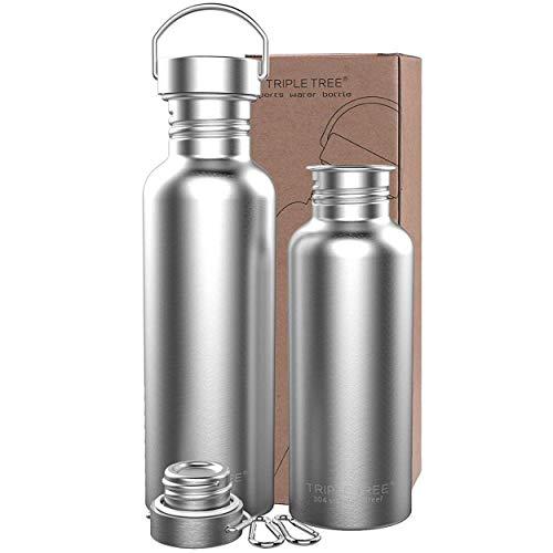 Trinkflasche Edelstahl 500ml 700ml 1l BPA Freie,Vakuumisolierte Metall Wasserflasche für Outdoor, Büro, Camping, Sports (1000ml)