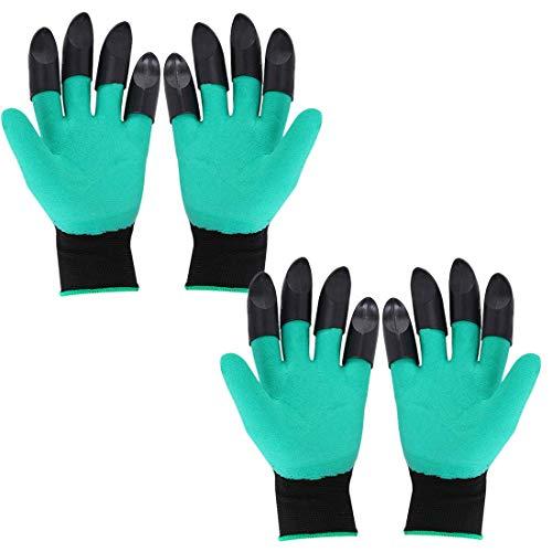 Dongfang 2 Pairs Garten Handschuhe Rutschfest Arbeiten Handschuhe mit Krallen für Zum Graben Bepflanzung