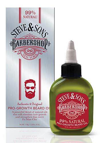 Steve & Son's Barbershop Huile à barbe 99% naturelle Pro-Growth 75 ml – Mélange puissant d'huiles naturelles, stimule la pousse des cheveux et renforce les poils de la barbe
