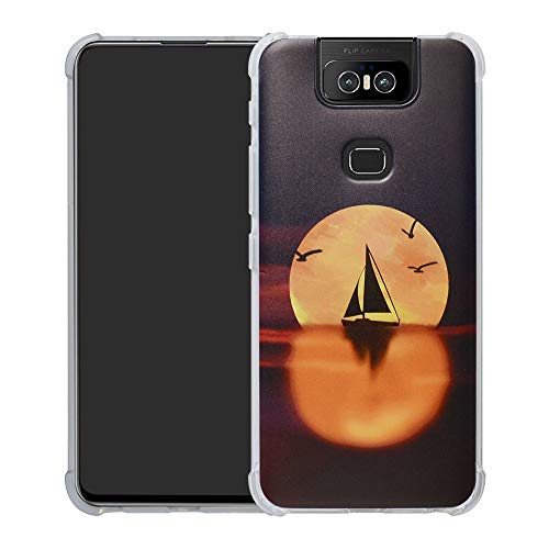 HHDY Asus Zenfone 6 ZS630KL Hülle, Painted Muster Weich Superdünne TPU Silikon Bumper Handyhülle Hülle für Asus Zenfone 6 ZS630KL /Zenfone 6z ZS630KL,Sailboats und Moon