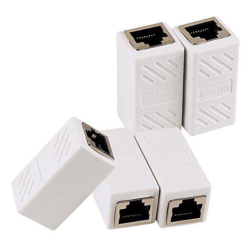 Senmubery Adaptador Ethernet RJ45 - Acoplador en LíNea Blindado para Cat7 / Cat6 / Cat5E / Cat5 Conector del Extensor de Cable Ethernet - Hembra una Hembra, Blanco - Paquete de 5