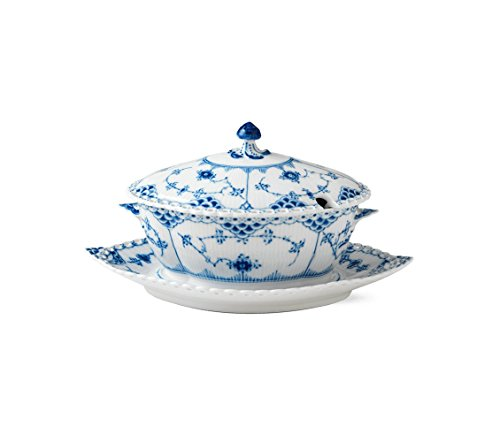 Blue Fluted Full Lace Gravy Boat
