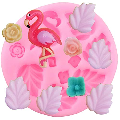 SKJH Flamingo Tropical Leaves Silikonformen Rose Baby Geburtstag Cupcake Topper Fondant Kuchen Dekorationswerkzeuge Candy Chocolate Moulds