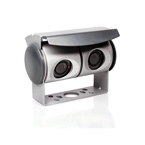 Caratec Safety CS100TU Kleuren-twin camera met 2-voudige omschakelbare box, 110°, IR-LED-verlichting, achteruitrijcamera met twee camera's, zilver
