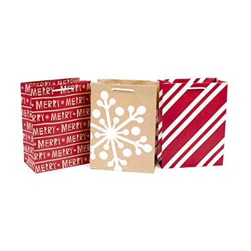 Hallmark Medium Christmas Gift Bags (Pack of 3: Red and Kraft; Stripes, Snowflake, Merry)