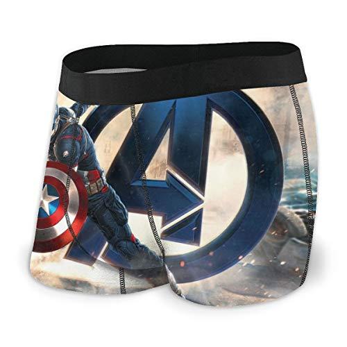 Captain America The Avengers Herren-Unterwäsche, Stretch, Boxershorts für Herren, kurze Beine, atmungsaktiv, bequeme Faserpackung Gr. X-Large, Schwarz